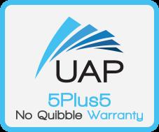UAP 5Plus5 No Quibble Warranty Badge
